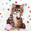 アップリケワッペン毛糸とネコ